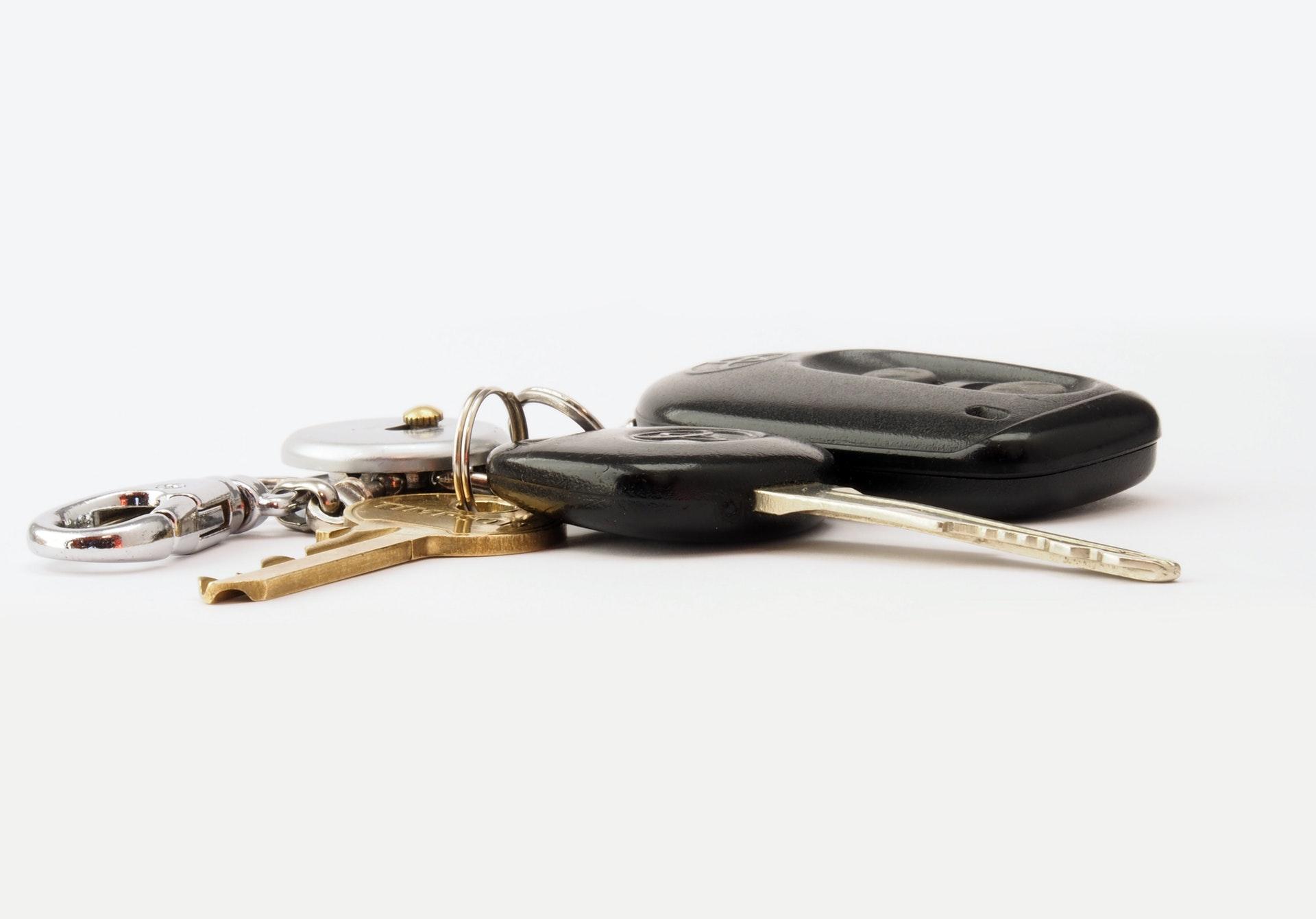 car keys on white background