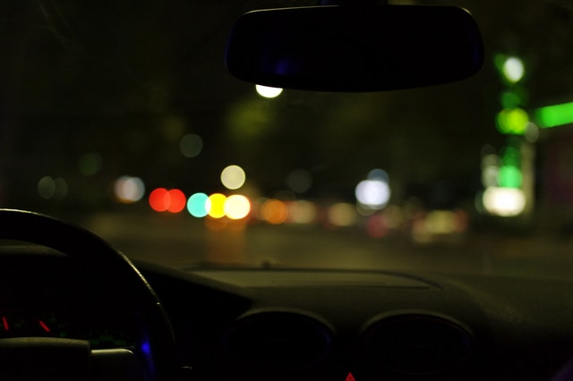 view from car backseat at nighttime representing what your third dui charge means